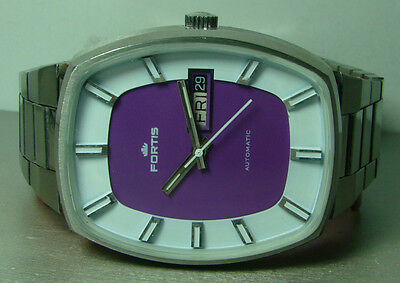 Vintage Fortis Automatic Day Date Swiss Made Mens Ool Used Wrist Watch P435 WBST