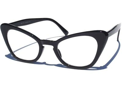 Cat Eye Clear Lens Glasses Hipster Vintage Pinup Style Retro Black Sexy Frame