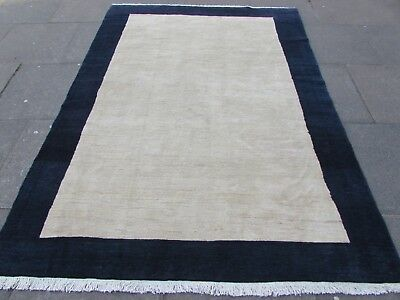 Old Traditional Hand Made Persian Oriental Gabbeh Wool Blue White Rug 236x175cm