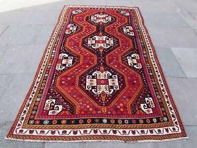 Old Hand Made Traditional Persian Rugs Oriental Wool Red Long Rug 278x160cm