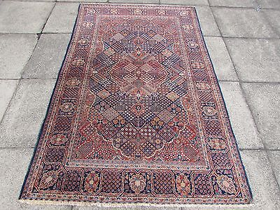 Fine Antique Hand Made Traditional Persian Rug Oriental Wool Blue Rug 208x132cm