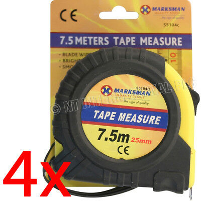 4 X 7.5M Measuring Tape Measurer 25Mm Grip Lock Builders Carpenter Wide Blade