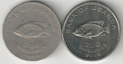 2 DIFFERENT 200 SHILLING COINS w/ FISH from UGANDA DATING 1998 & 2012 (2 TYPES)