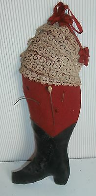 Antique Victorian Figural Boot Sewing Needle Pin Cushion With  Ribbon ..lace