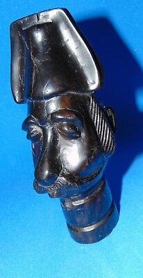 WOOD   carved  antique  FRENCH  cop  **GENDARME **  head