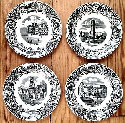 Nice Set of 4 antique French Plates about monuments of PARIS (CHOISY Le ROY)
