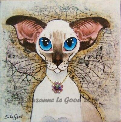 Siamese Cat art crystal painting mini canvas with easel original Suzanne Le Good