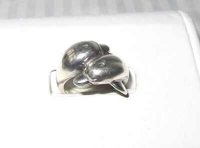 Sterling Silver Crossing Dolphins Ring - Size 6