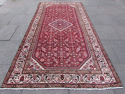 Old Hand Made Traditional Persian Rug Oriental Rug Wool Red Long Rug 312x162cm