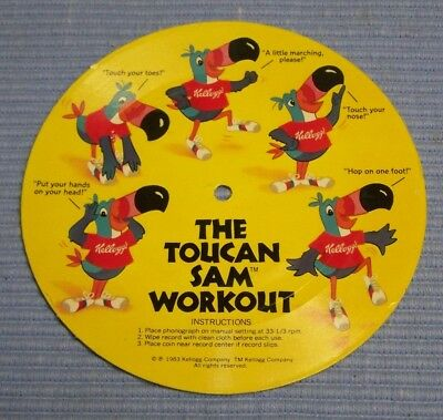 Vintage Kellogg's Froot Loops The Toucan Sam Workout Record Cardboard Flex