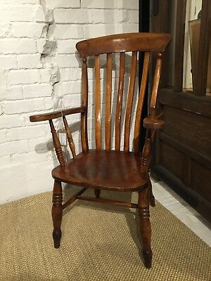 Antique Solid Wood Windsor Lathback Armchair