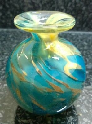 Vintage Small Teal Blue & Gold Coloured Vase Signed Mdina Perfect condition