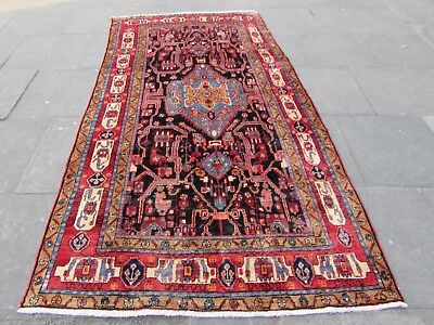 Old Hand Made Traditional Persian Rugs Oriental Wool Blue Long Rug 280x150cm