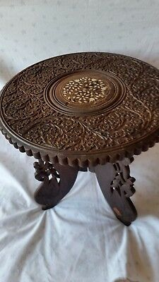 Vintage Indian Small Hand Carved Wooden Folding Table With Inlay