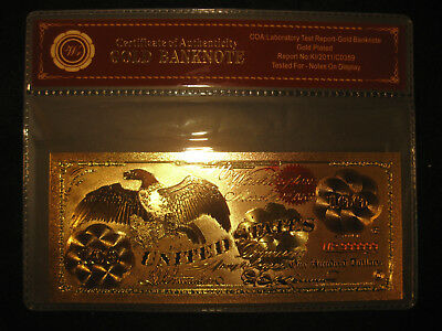 24K Gold Foil Plated 1863 $100 Gold Banknote, Collectors Dollar With Coa