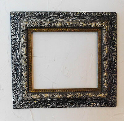 Antique Gold Gilt Black Silver Gesso Leaves Wide Picture Frame Victorian