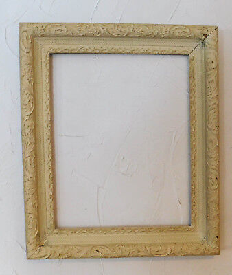 Large Antique Gesso Cream White Leaves Picture Frame Victorian Cottage