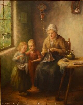 Fine 20th Century Mother & Children In An Interior Oil Painting BOUTER