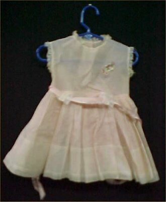 Vintage Antique Baby Doll Dress Little Girl Dress Classic 50s  PINK Dotted Swiss