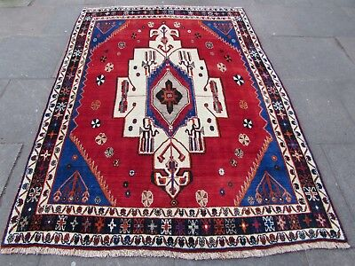 Old Hand Made Traditional Persian Rugs Oriental Wool Red Large Rug 227x167cm