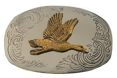 Vtg Duck Belt Buckle German Silver Engraved Icon Animal Flying Bird Hunting Mens