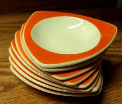 Vtg Lot/8 pcs STREAMLINE Salem ORANGE Tricorne Triangle MINIATURE BOWLS