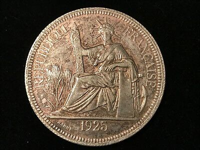 T2: World Coin French Indo China 1925 .900 Silver Piastre. Free S/H in U.S.