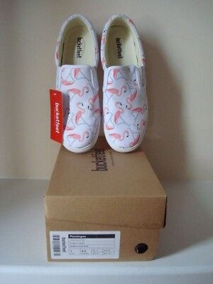 Brand New Auth Bucketfeet Flamingo Slip-On Sneakers~Ladies SZ 8.5B~Preppy Chic~