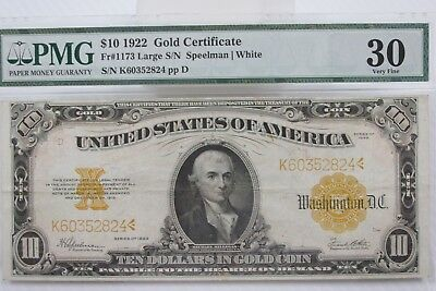 1922 $10 Gold Certificate FR-1163 - Graded PMG 30 - Very Fine [B]
