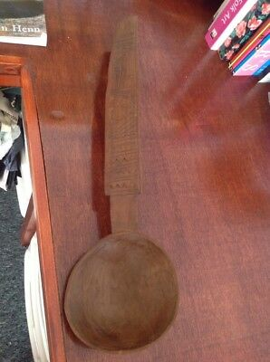 Vintage Tribal Art South American Carved Wood Decorated Large Ladle