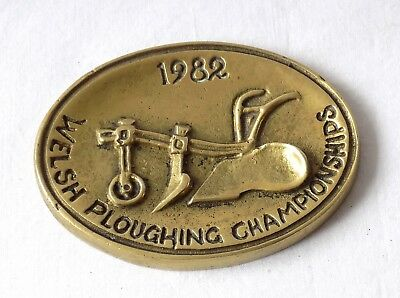 Vintage Welsh Ploughing Championships Small Heavy  Brass Plaque. 1982.