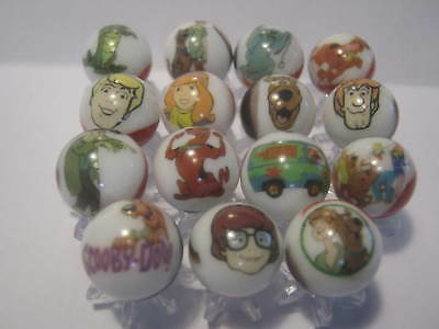Scooby Doo GLASS MARBLES 5/8 SIZE collection lot & STANDS