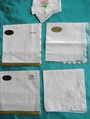 5 quality white cotton SEWARD HANDKERCHIEFS 3 with lace edging 3 monogrammed
