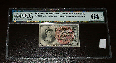 4th Issue 10 Cent Fractional Currency - FR1261-  PMG 64EPQ!