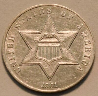 1861 Three Cent Silver, High Grade, Scarce Civil War Date Coin, Sharp 3CS