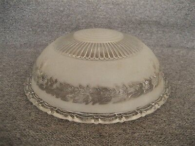 Antique Vintage Frosted Glass Leaf Rib Pattern Ceiling Light Shade 3 Chain Hole