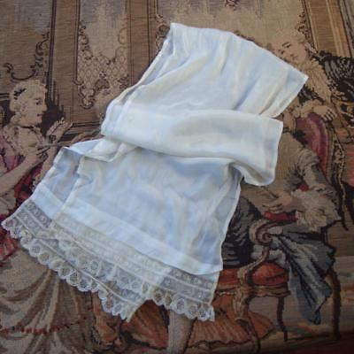 J10 - Antique Cream Silk Scarf With Lace Trim