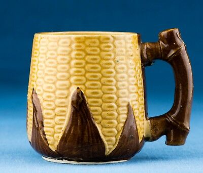antique RUSTIC MAJOLICA CORN MUG unusual pattern NOT SHAWNEE?