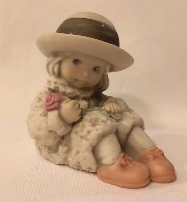 """Enesco 1995 Kim Anderson """"Pretty as a Picture"""" Figurine #175366 ~ Girl with Rose"""