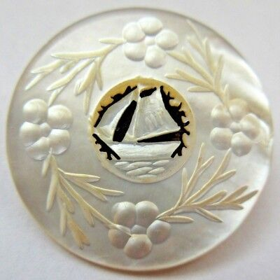 Stunning LARGE Antique Carved White MOP Shell Picture BUTTON w/ Sailboat (R10)