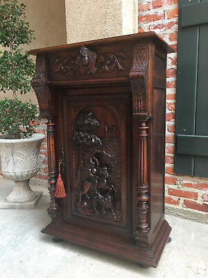 Antique English Carved Oak Wine Hunt Cabinet Bookcase Renaissance Horse Boar