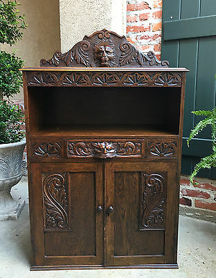 Antique English Carved Oak Cabinet Bookcase Shelf Lion Mask Renaissance Display