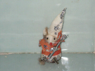 Vintage Original Fur Mouse Germany Court Jester Clown With Blue White Tag