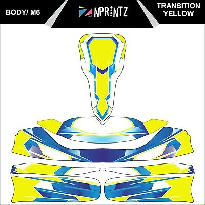 M6 Transition Yellow Tonykart Style Full Kart Sticker Kit To Fit M6 Body