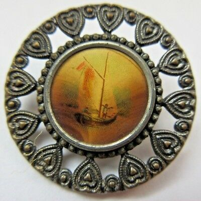 Nice LARGE Antique Metal & Celluloid Lithograph Picture BUTTON Sailboat (R18)