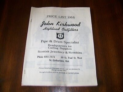 JOHN KIRKWOOD HIGHLAND OUTFITTERS CATALOG, Pipe & Drum Specialist, 1966, Curling