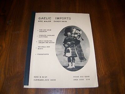 GAELIC IMPORTS CATALOG, Pipe Major Sandy Hain, Bagpipes, Drums, Cleveland, Ohio