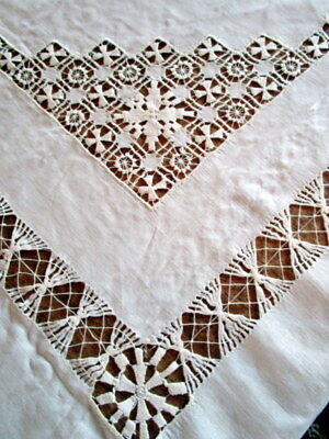 Antique white linen pulled thread table cloth 63 x 68