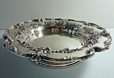 Sterling Silver Under Tray Or Coaster W/ Decorative Floral Border, B, B & B