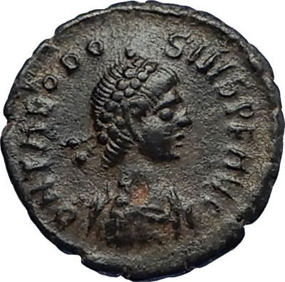 THEODOSIUS I the Great 388AD Authentic Ancient Roman Coin VICTORY ANGEL i67311